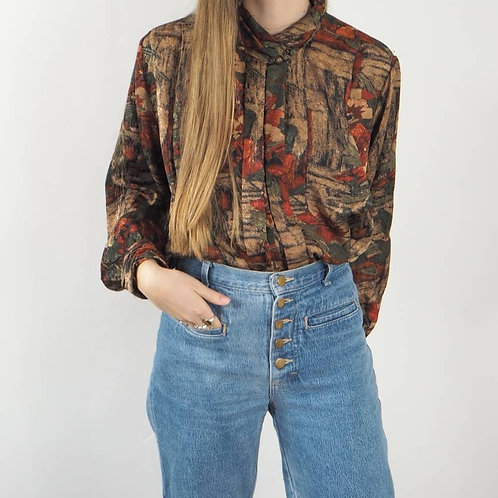 Vintage Abstract Floral Blouse - 16UK