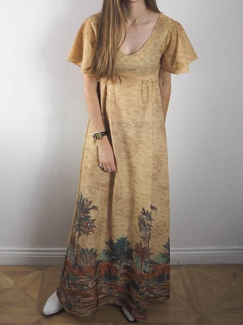 Vintage Brown Desert Maxi Dress - 8UK