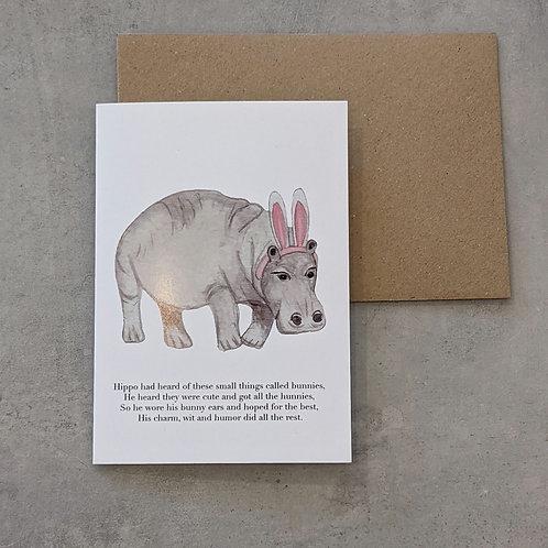Hippo in Bunny Ears card