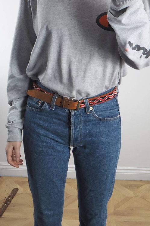 Vintage Black and Red Beaded Belt