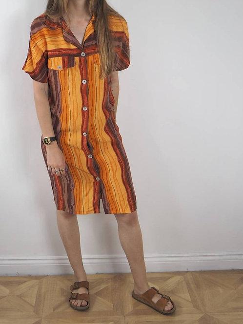 Vintage Orange Striped Dress - 8UK