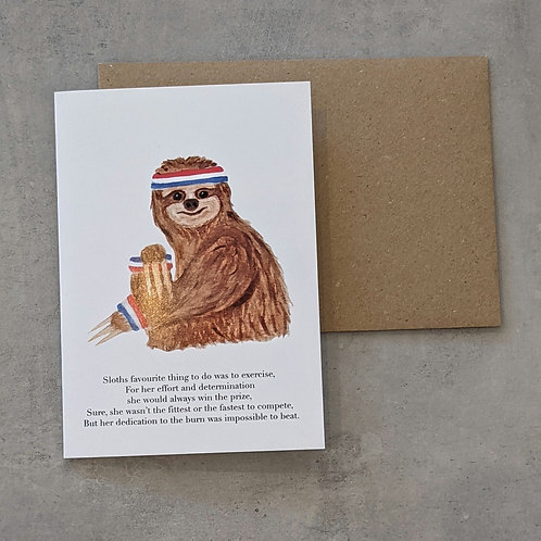 Sloth in Sweat Bands Card
