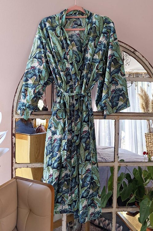 Gladys Leaf Cotton Kimono Robe - 8-18UK