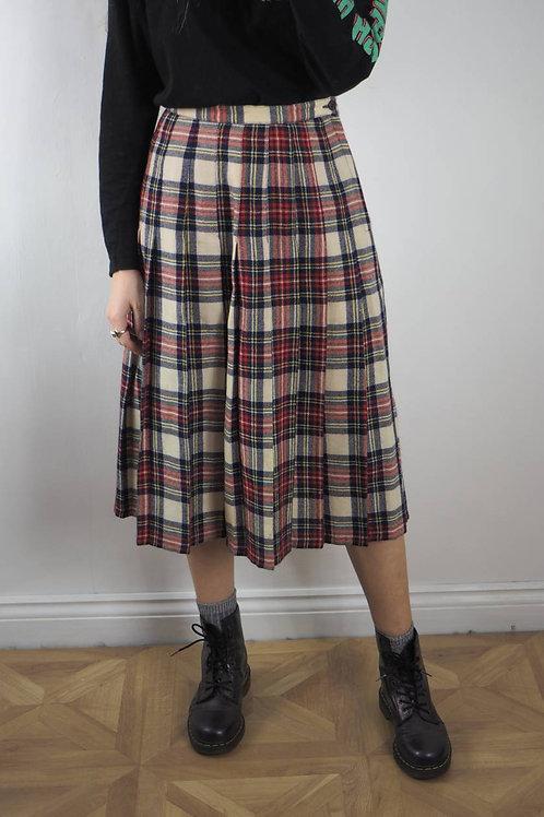 Vintage Tartan Multi Pleat Skirt - 8UK