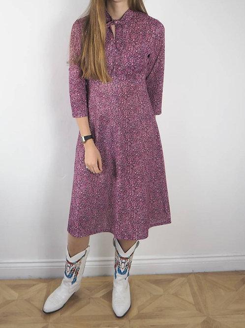 Vintage Purple Floral 3/4 Crimp Dress - 12-14UK