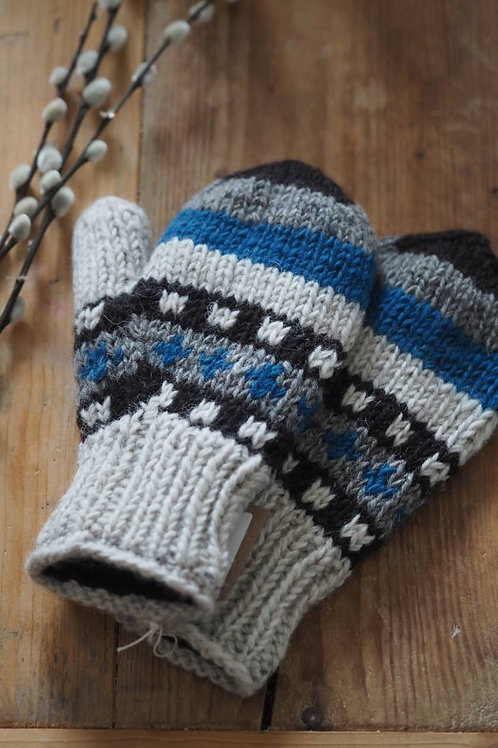 Fairtrade Blue Grey Knitted Mittens