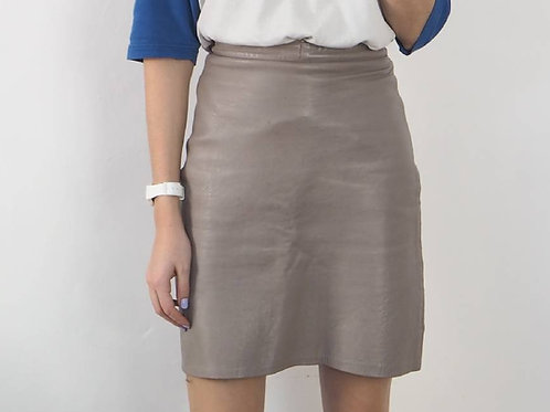 Vintage Grey Leather Skirt - 6-8UK
