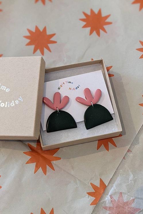 Pink & Green Single Flower Pot Earrings