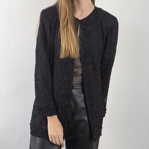 Vintage Black Sequin Jacket - M