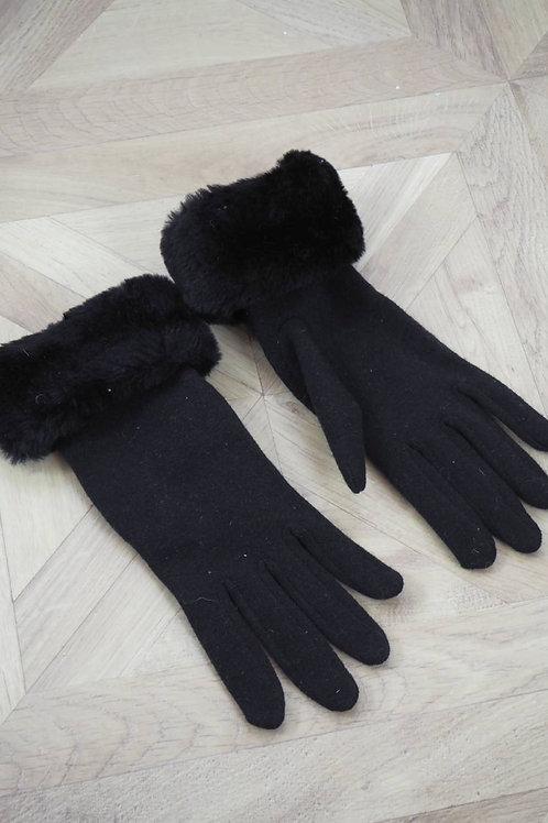Black Faux Fur Cuff Gloves