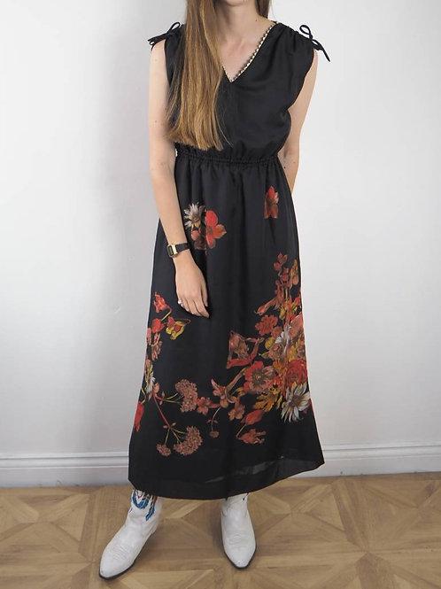 Vintage Black Floral Maxi Dress - 8UK