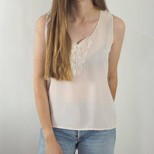 Vintage Cream Embroidered Vest  Top - 14UK