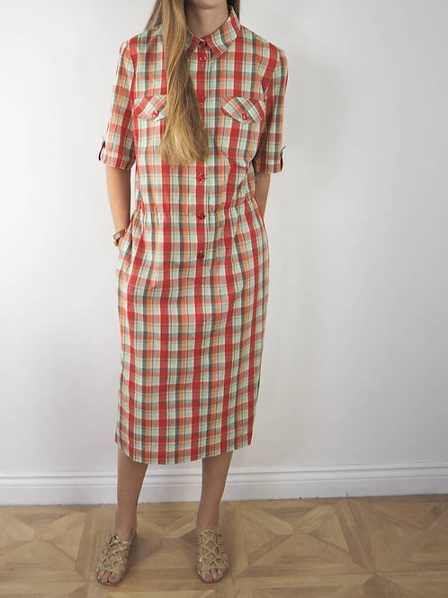 Vintage Checked Midi Shirt Dress - 14-16UK