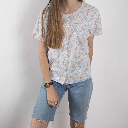 Vintage Pastel Floral Button T-Shirt - L