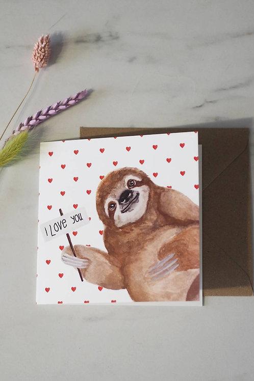 'I Love You' Sloth Card