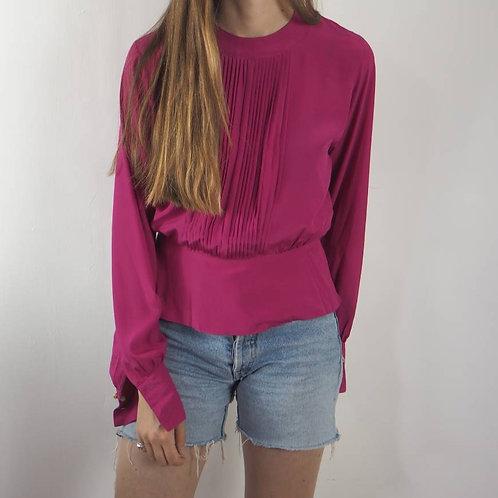 Vintage Pink Pleated Blouse - 8UK