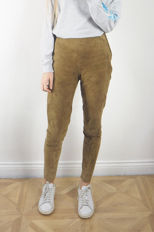 Vintage Green Suede Trousers - 8UK