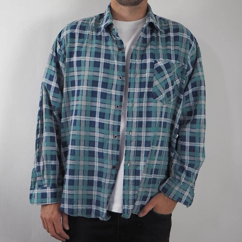 Vintage Blue Flannel Shirt - M
