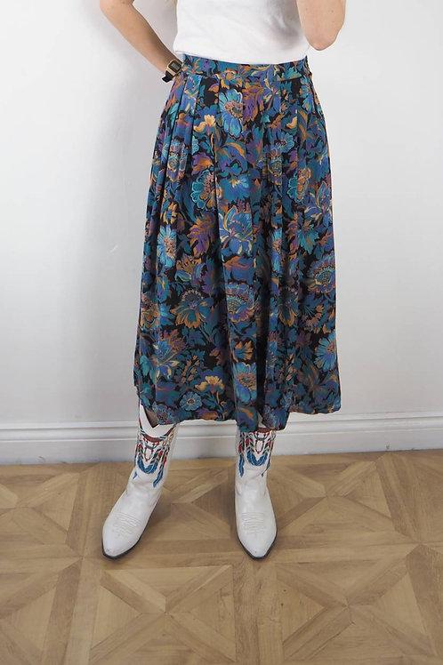 Vintage Floral Midi Skirt - 18UK