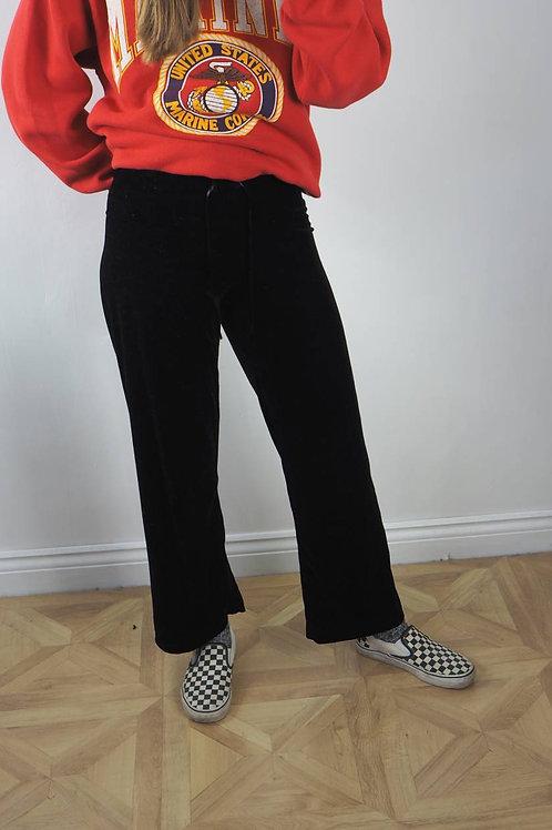 Vintage Black S Velvet Lounge Pants - 6-8UK