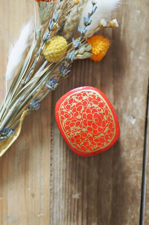 Indian Paper Mache Red Floral Mini Box