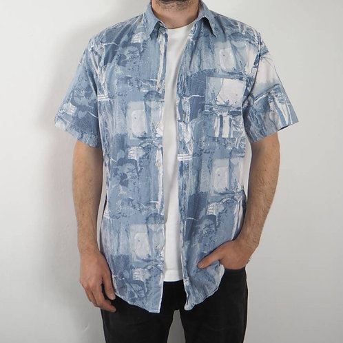 Vintage Abstract Sky Blue 90's Shirt - S