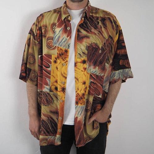 Vintage Abstract Camel Shirt - XL