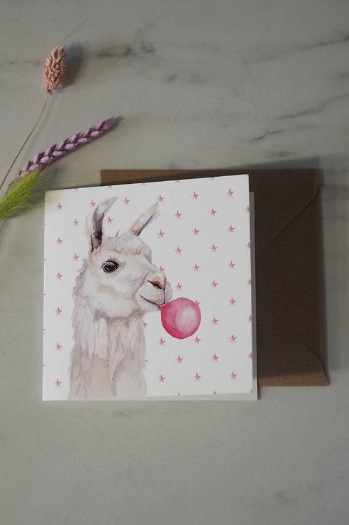 Llama With Bubblegum Card