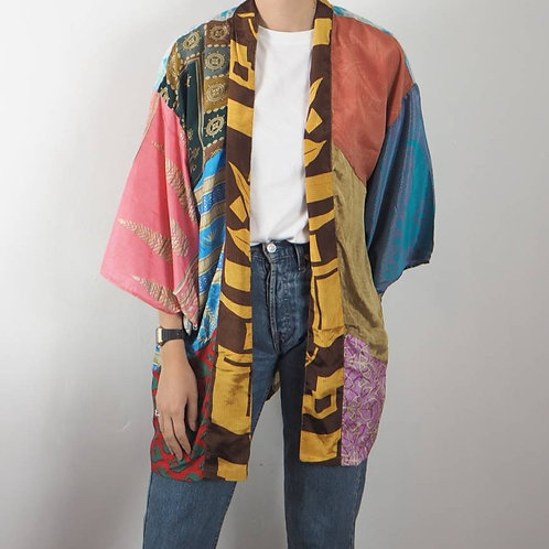 Re-Sari Silk Patchwork Kimono 02 - 8-16UK
