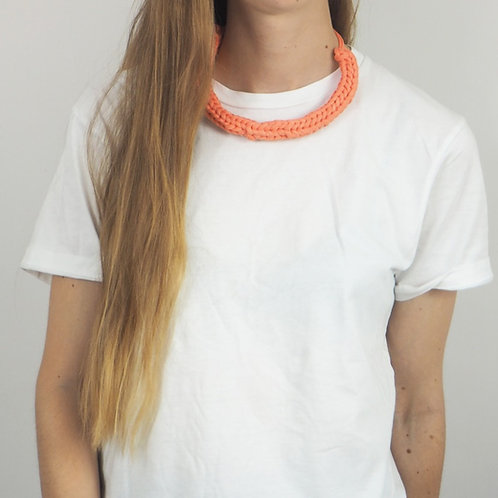 Knitted Recycled Coral Necklace