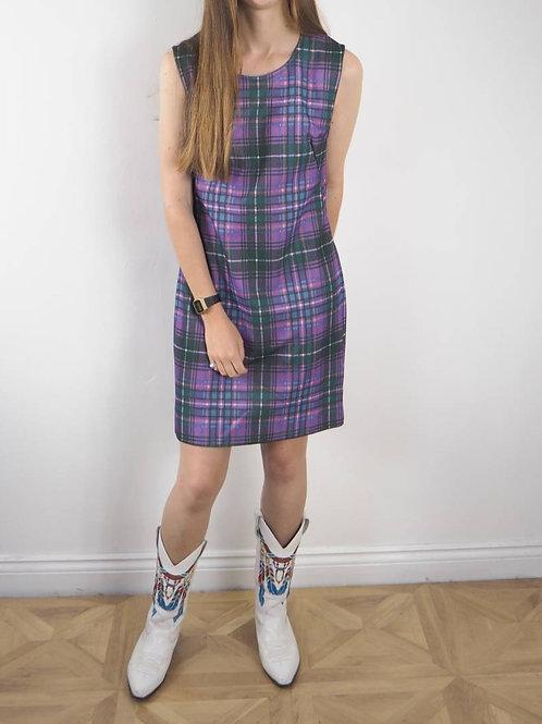 Vintage Purple Check Crimp Dress - 12-14UK