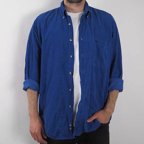 Vintage Cobalt Blue Corduroy Shirt - M