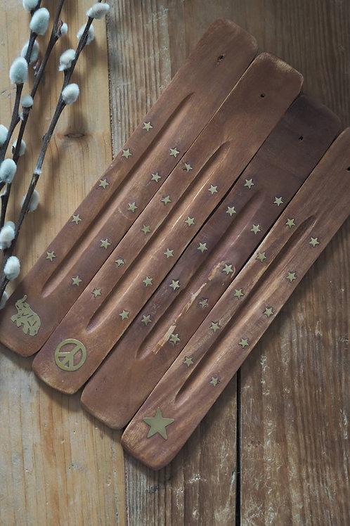 Mango Wood Brass Inlay Incense Holder