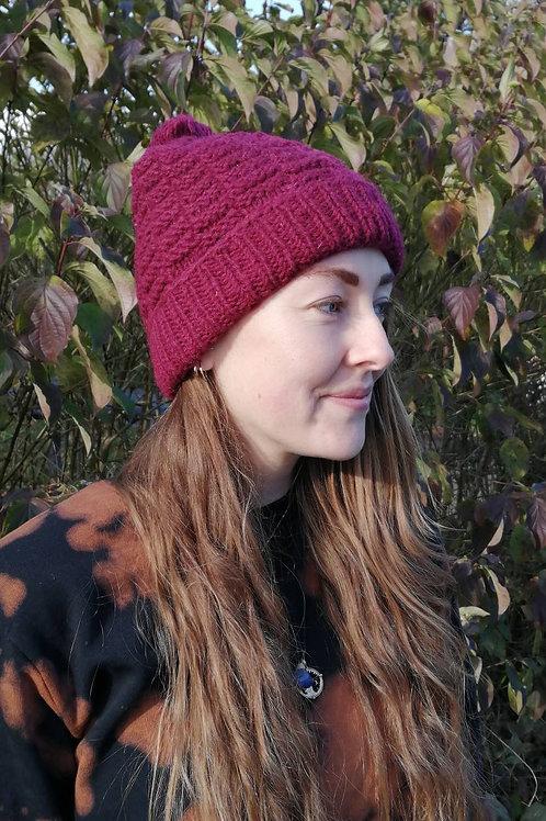 Fair trade Wine Wool Bobble Beanie Hat