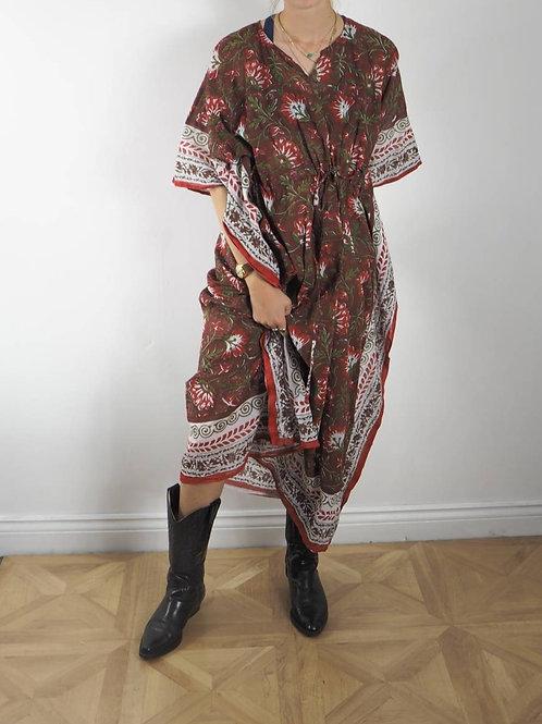 Burgundy Green Print Kaftan Dress