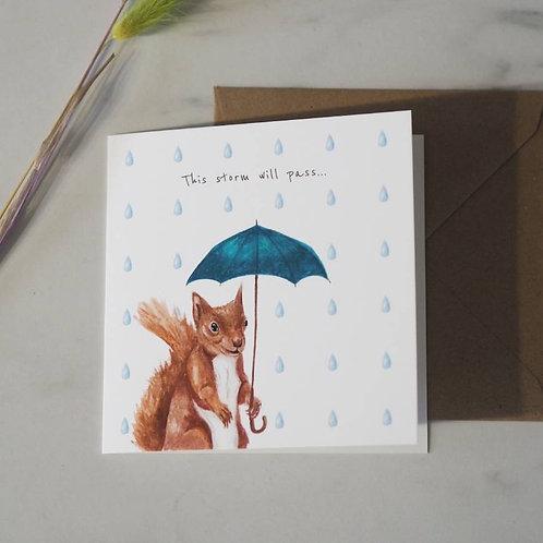 Squirrel With An Umbrella Card