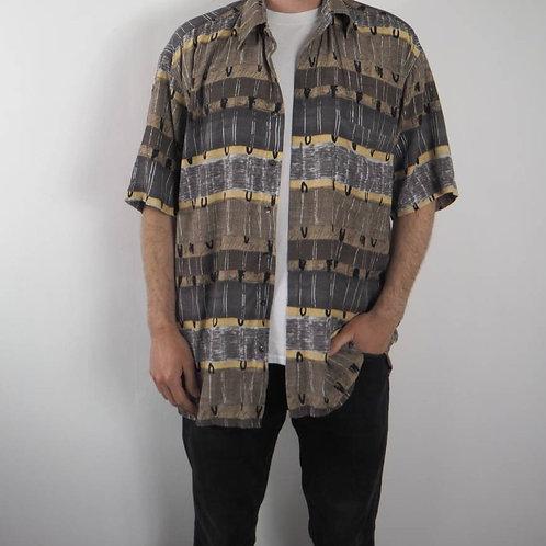 Vintage Abstract Khaki Hatico Shirt - L