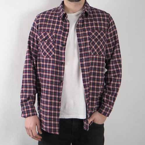 Vintage Red Blue Checked Shirt - M