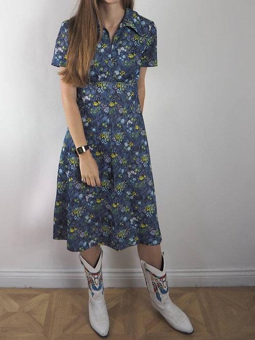 Vintage Blue Green Floral Crimp Dress - 12-14UK