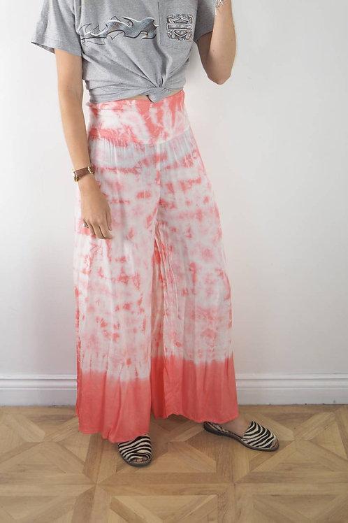 Fairtrade Pink White Tie Dye Trousers - 8-14UK