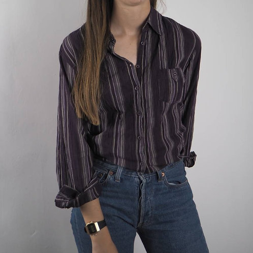Vintage Purple Striped Shirt - 14UK