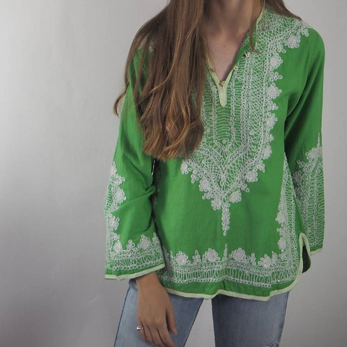 Vintage Green Embroidered 70's Top - M