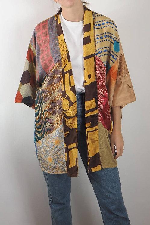 Re-Sari Silk Patchwork Kimono 03 - 8-16UK