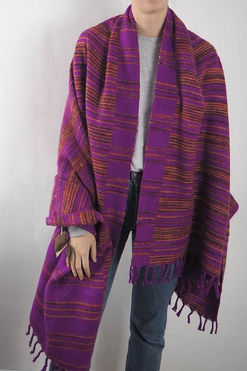 Magenta Striped Shawl Blanket