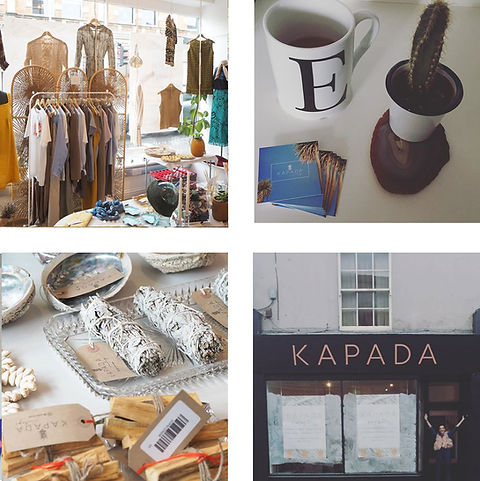 Four images from top left to right, kapada inside, kapada business cards, kapada goods,kapadaoutside