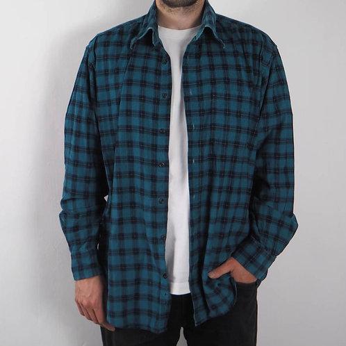 Vintage Blue Checked Corduroy Shirt - L