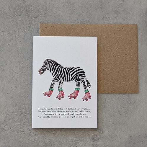 Zebra on Skates Card