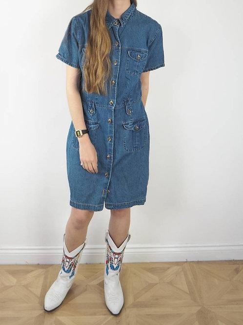 Vintage Denim Button Dress - 14-16UK
