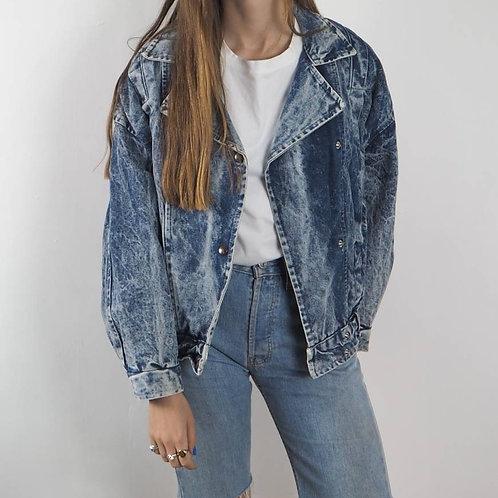 Vintage 80's Bleach Denim Jacket - M/L