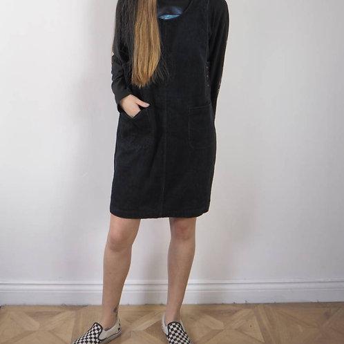 Vintage Black Corduroy Pinafore Dress - 12-14UK